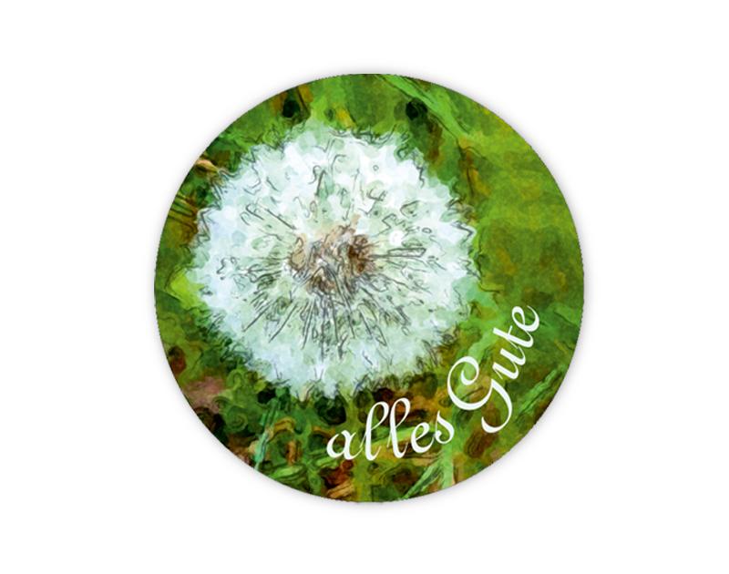 """Geschenkaufkleber - """"alles Gute"""" Pusteblume -  im Aquarellstil - für Dankesbriefe, Briefe, Geschenke, Einladungen und kleinen Aufmerksamkeiten im Alltag"""