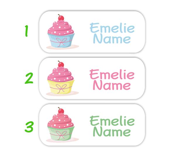eckige Namensaufkleber, Motiv: Cupcake, hochwertige, umweltfreundliche PVC-freie Folie