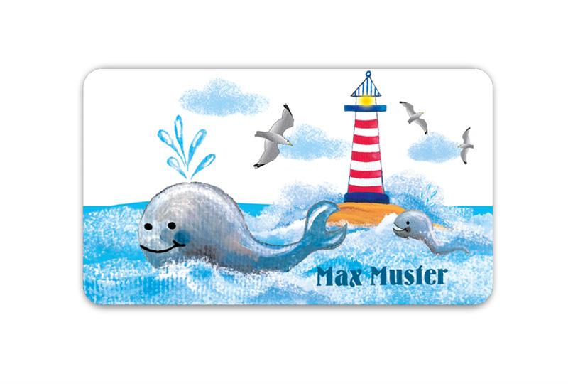 Brotdosenaufkleber 12 x 7 cm  - Motiv: Leuchtturm mit Wal - hochwertige PVC-freie Folie, ungiftige Farben - mit Namen personalisierbar
