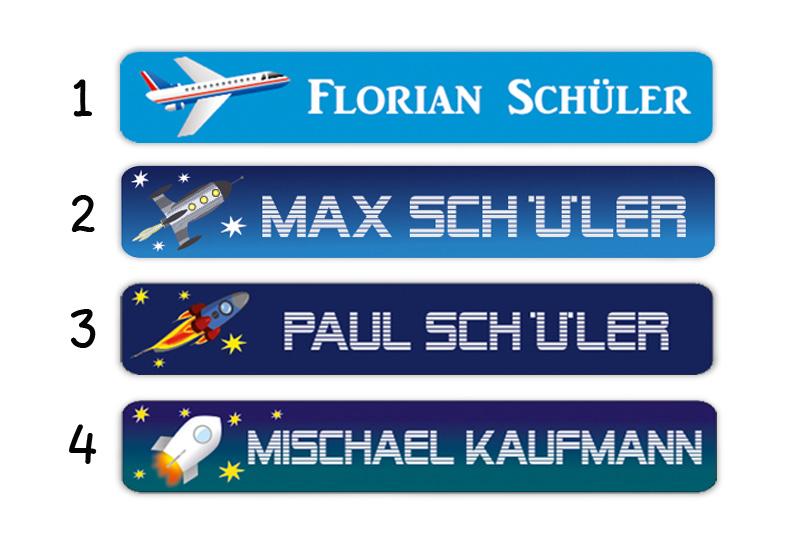 Stifteaufkleber 0,7 x 4,5 cm - hochwertige PVC-freie Folie - mit Namen personalisierbar - Motiv: Flugzeug und Rakete