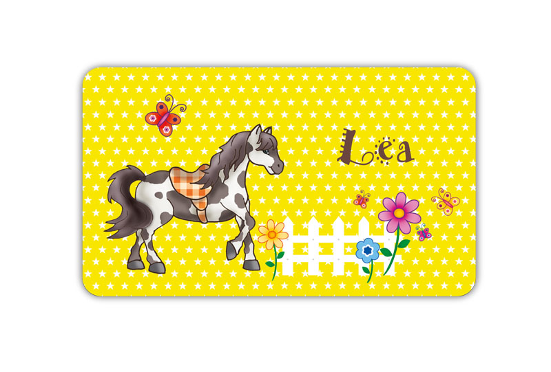 Brotdosenaufkleber 12 x 7 cm  - Motiv: Pferd mit Sternchen, Schmetterlingen und Blumen am Zaun,  hochwertige PVC-freie Folie, ungiftige Farben - mit Namen personalisierbar