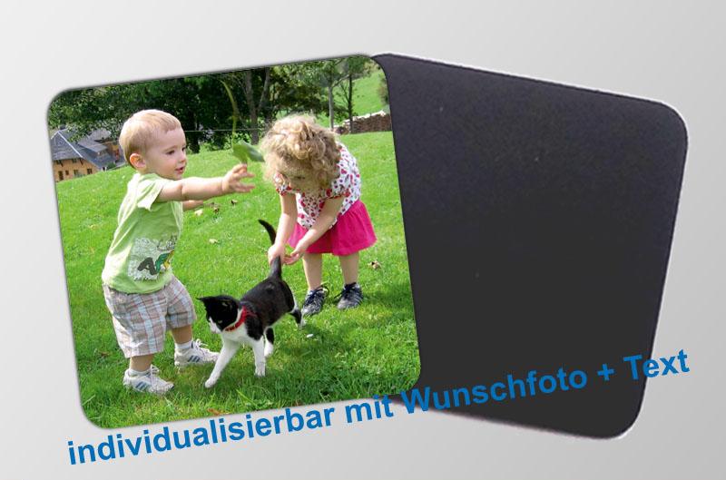 mit Foto und Wunschtext personalisierbare Magnetfotos - quadratisch - für Hochzeiten, Familienfeiern, Einschulung, Urlaub, Gastgeschenke