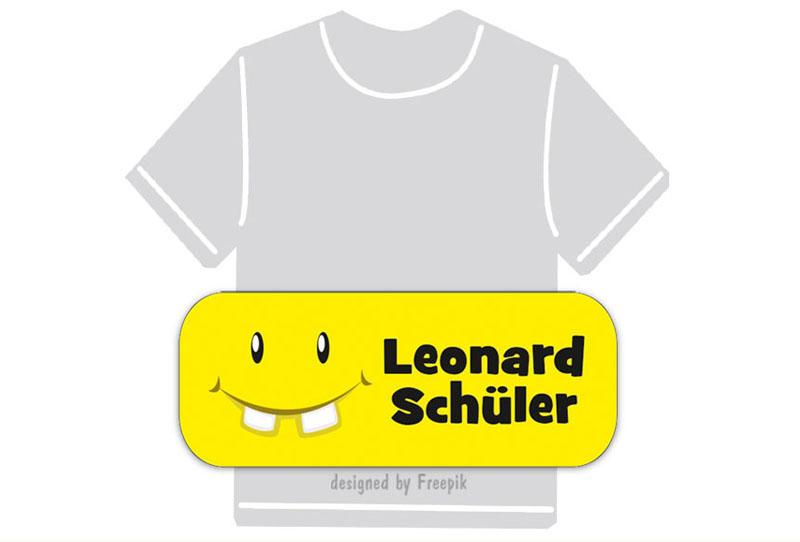 dauerhafte Bügeletiketten mit Namen für Kindergarten u. Schule - PVC frei -  Motiv: Lachgesicht