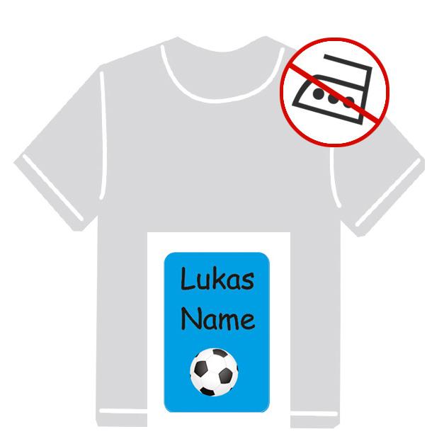 Kleidungsaufkleber für kurzfristige Markierung der Kleidung - ohne Aufbügeln - pvc-frei - Motiv: Fußball