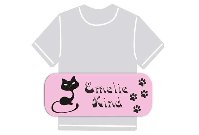 dauerhafte Bügeletiketten mit Namen für Kindergarten u. Schule - PVC frei -  Motiv: Katze
