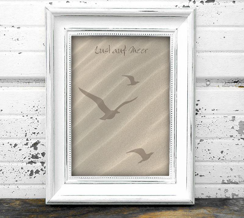 maritimes Poster - Lust auf Meer - Möwen, in Größe A4 bis A0 möglich, personalisierbarer Text, umweltfreundlich und ungiftige Farben