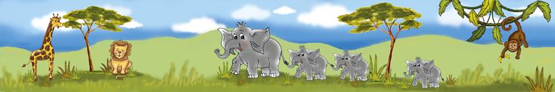 Kinderbordüre mit Afrikatieren, liebevoll handgemalte Motive: Giraffe, Löwe, Elefanten, Affe
