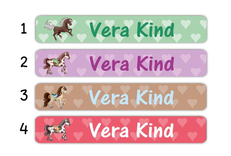 Stifteaufkleber 0,7 x 4,5 cm - hochwertige PVC-freie Folie - mit Namen personalisierbar - Motiv: Pferde mit Herzchen