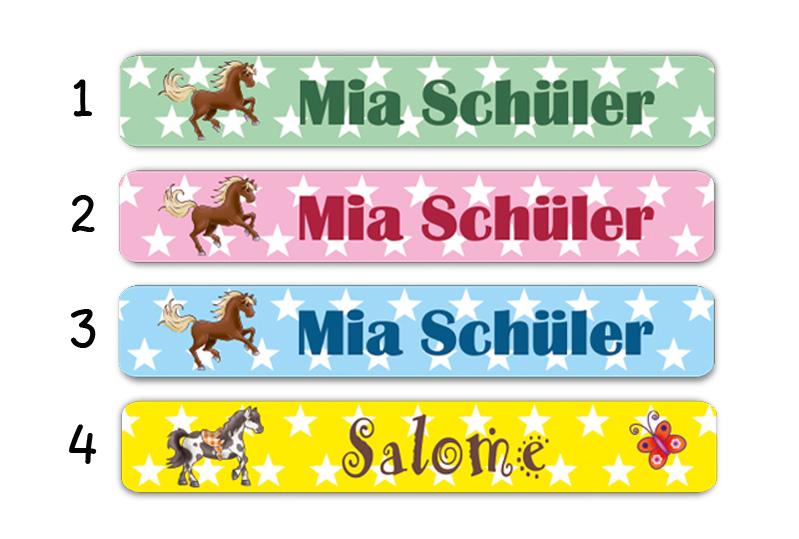 Stifteaufkleber 0,7 x 4,5 cm - hochwertige PVC-freie Folie - mit Namen personalisierbar - Motiv: Pferde mit Sternchen