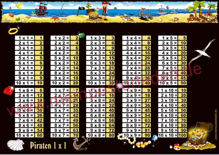 1 x 1 Lernposter für die Grundschule mit kleinem Piratenjungen, Goldschatz und Piratenschiff, optional laminiert