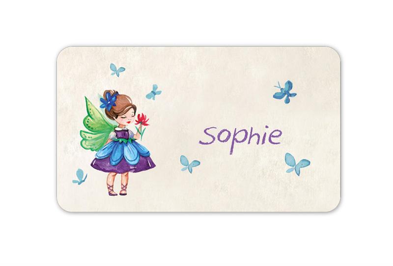 Brotdosenaufkleber 12 x 7 cm  - Motiv: Kleine Blumenfee mit Schmetterlingen - hochwertige PVC-freie Folie, ungiftige Farben - mit Namen personalisierbar