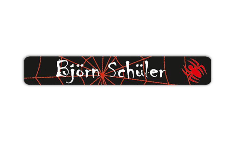 Stifteaufkleber 0,7 x 4,5 cm - hochwertige PVC-freie Folie - mit Namen personalisierbar - Motiv: Spinne