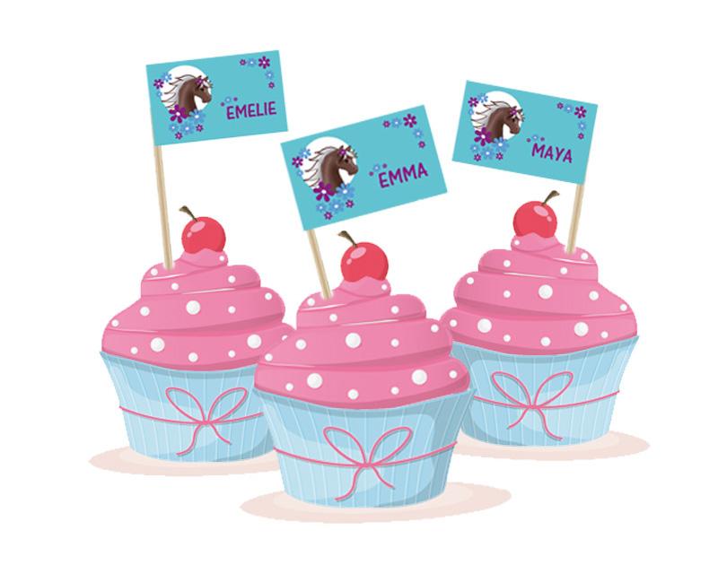 Kuchenfähnchen Pony- selbstklebende Deko für Cupcakes, für Kinderfeiern