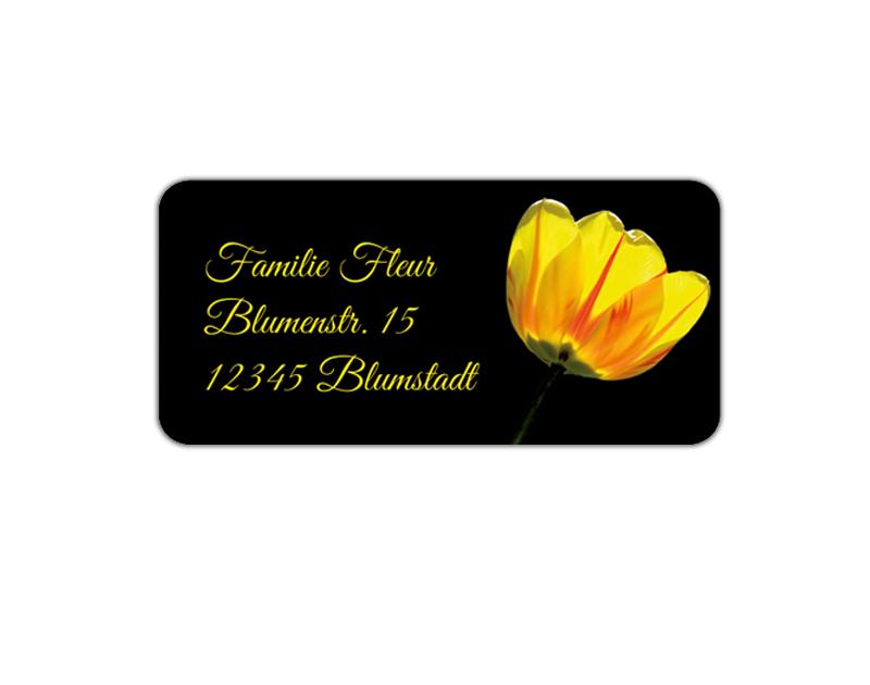 eckige Adressaufkleber mit romantischer gelben Rose, auf umweltfreundlichen PVC-freien selbstklebenden Papier, wasserfest