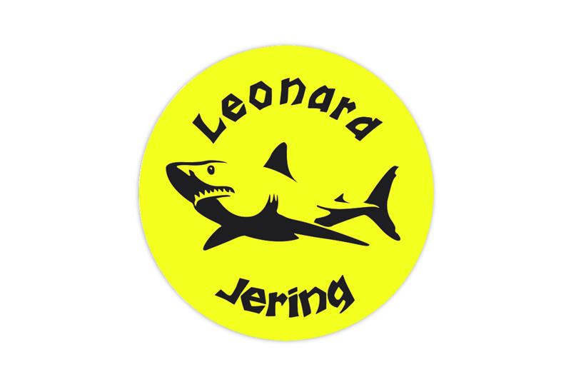 runde Neon Namensaufkleber: Hai - auffällig durch intensive Leuchtwirkung
