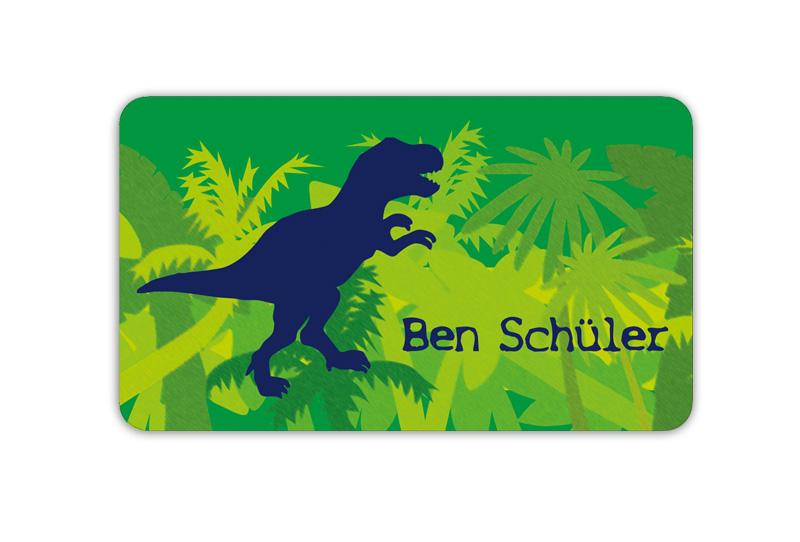 Brotdosenaufkleber 12 x 7 cm  - Motiv: T-Rex - hochwertige PVC-freie Folie, ungiftige Farben - mit Namen personalisierbar