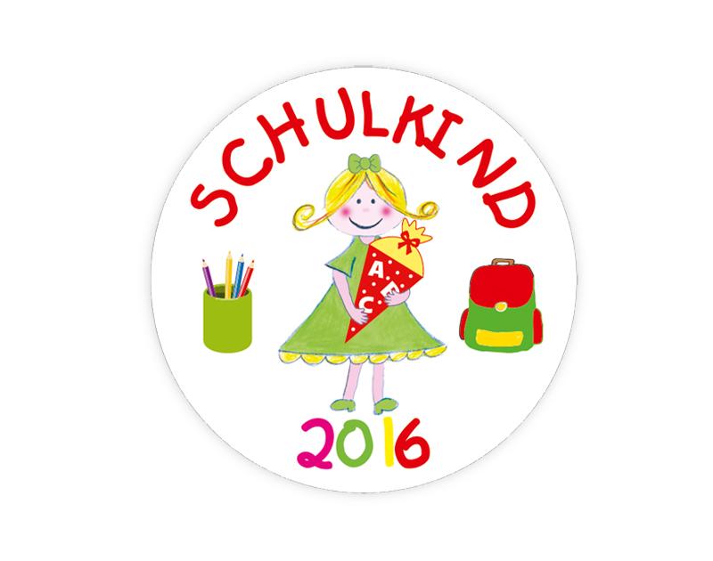 Aufkleber für die Einschulung: Schulkind - Mädchen - personalisierbar mit Wunschtext - als Gastgeschenk, für Einladungen, Schulanfang, Einschulung,