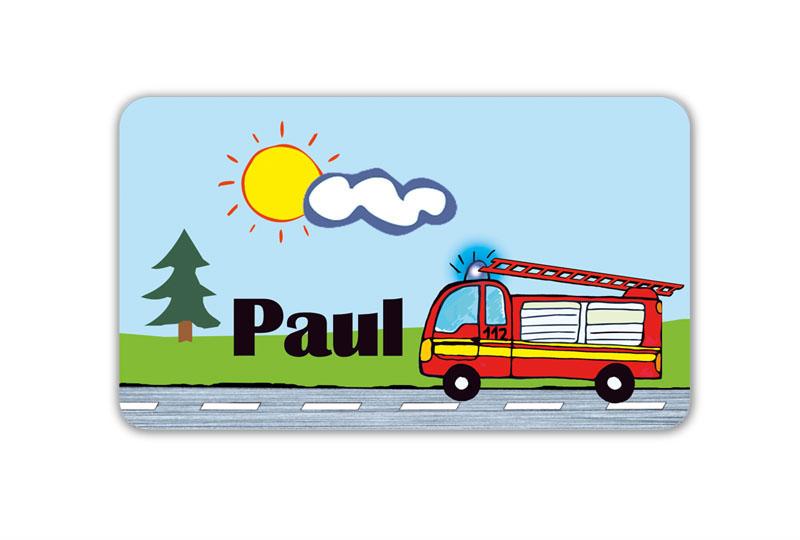 Brotdosenaufkleber 12 x 7 cm  - Motiv: Feuerwehr - hochwertige PVC-freie Folie, ungiftige Farben - mit Namen personalisierbar