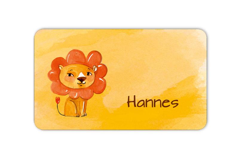 Brotdosenaufkleber 12 x 7 cm  - Motiv: niedlicher Löwe - im Aquarellstil, hochwertige PVC-freie Folie, ungiftige Farben - mit Namen personalisierbar