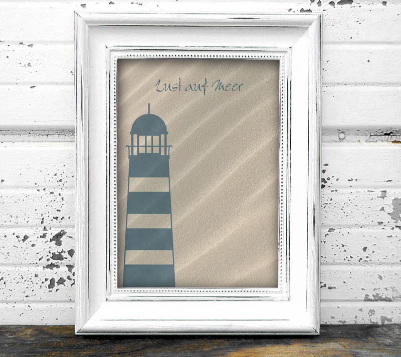 maritimes Poster - Lust auf Meer - Leuchtturm, in Größe A4 bis A0 möglich, personalisierbarer Text, umweltfreundlich und ungiftige Farben