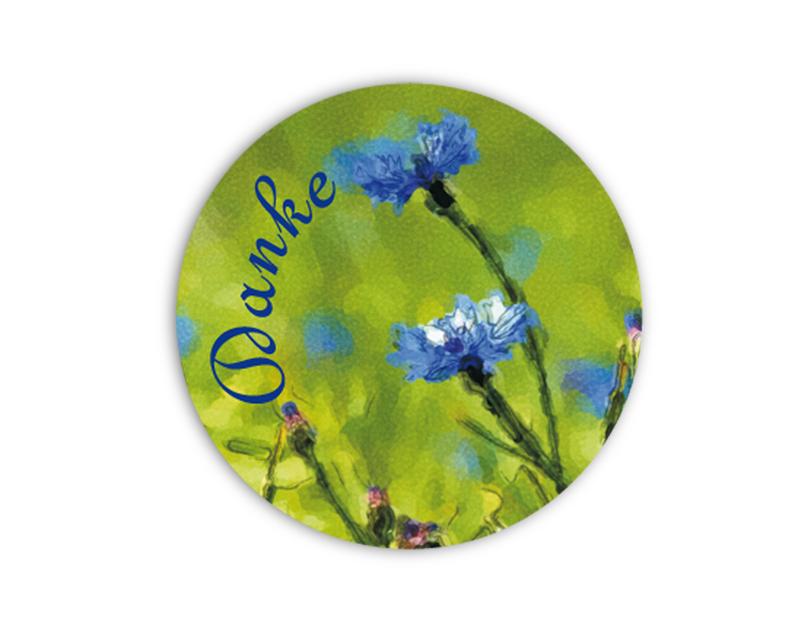 """Geschenkaufkleber - """"Danke"""" blaue Kornblume -  im Aquarellstil - für Dankesbriefe, Briefe, Geschenke, Einladungen und kleinen Aufmerksamkeiten im Alltag"""