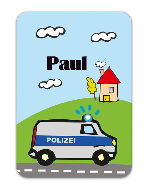 Trinkflaschenaufkleber 10 x 7 cm  - Motiv: Polizei - hochwertige PVC-freie Folie, ungiftige Farben - mit Namen personalisierbar