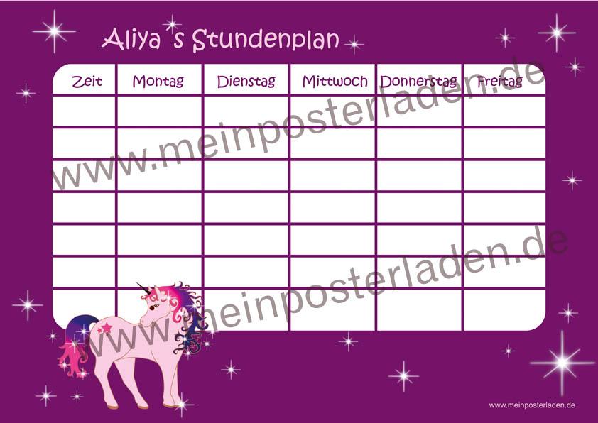 A4 Stundenplan in lila mit Einhorn und Sternen, optional wiederbeschreibbar
