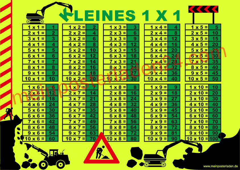 Neon 1x1 Lernposter: Baustelle