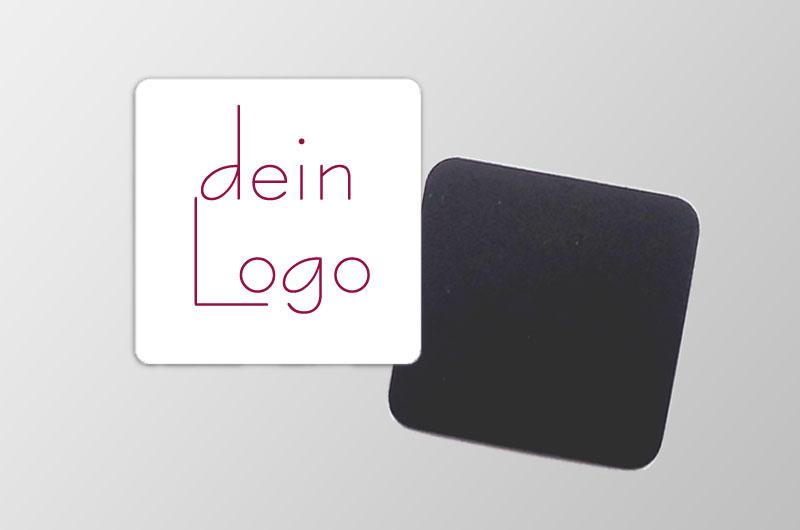 mit deinem Logo personalisierbare Magnetfotos - quadratisch - ideal als Werbegeschenk, für Messen, Märkten,  und als Giveaway