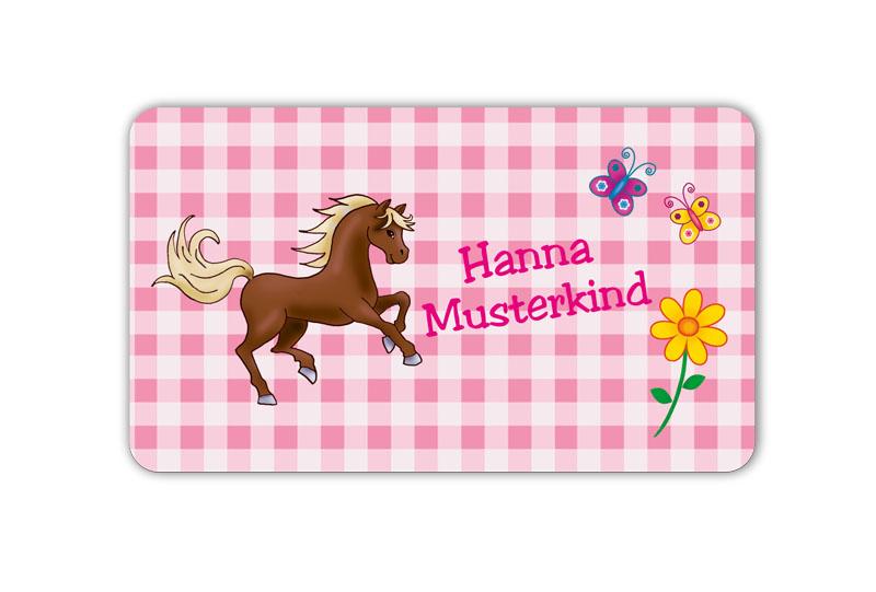 Brotdosenaufkleber 12 x 7 cm  - Motiv: Pferd Karo - hochwertige PVC-freie Folie, ungiftige Farben - mit Namen personalisierbar
