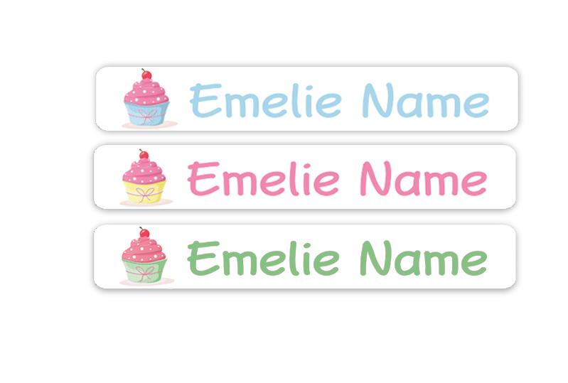Stifteaufkleber 0,7 x 4,5 cm - hochwertige PVC-freie Folie - mit Namen personalisierbar - Motiv: Cupcake