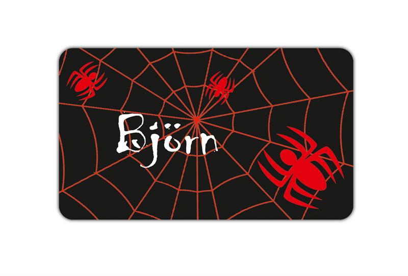 Brotdosenaufkleber 12 x 7 cm  - Motiv: Spinne im Spinnennetz - hochwertige PVC-freie Folie, ungiftige Farben - mit Namen personalisierbar