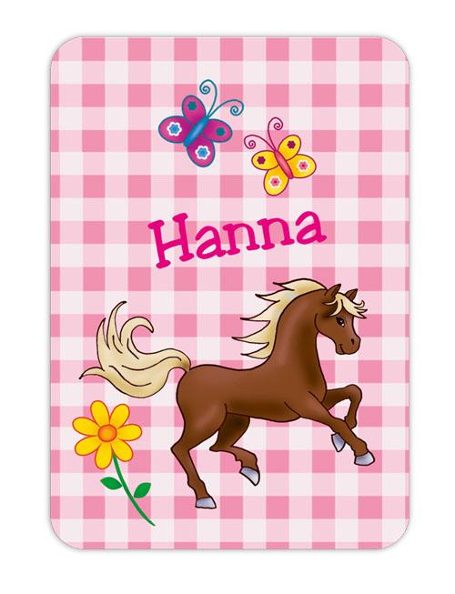 Trinkflaschenaufkleber 10 x 7 cm  - Motiv: Pony mit Blumen auf Karo Hintergrund - hochwertige PVC-freie Folie, ungiftige Farben - mit Namen personalisierbar