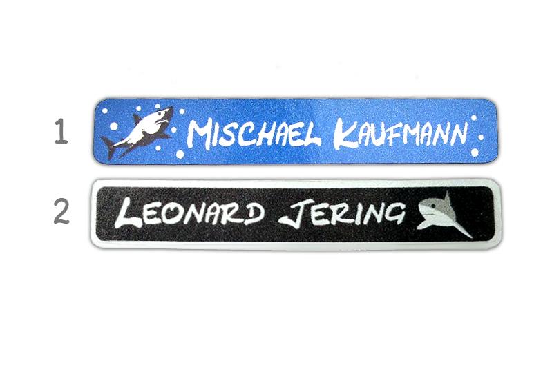 Metallic Stifteaufkleber 0,7 x 4,5 cm - gedruckt auf silbermetallic Folie - mit Namen personalisierbar - Motiv: Hai