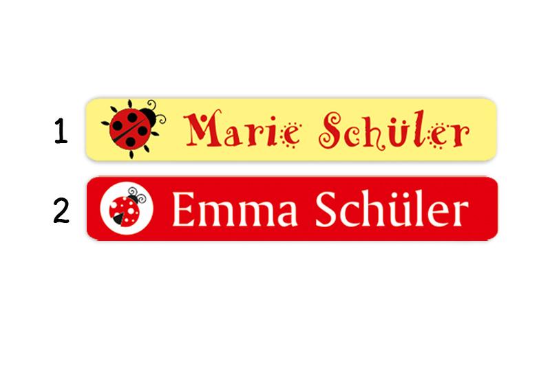 Stifteaufkleber 0,7 x 4,5 cm - hochwertige PVC-freie Folie - mit Namen personalisierbar - Motiv: Marienkäfer