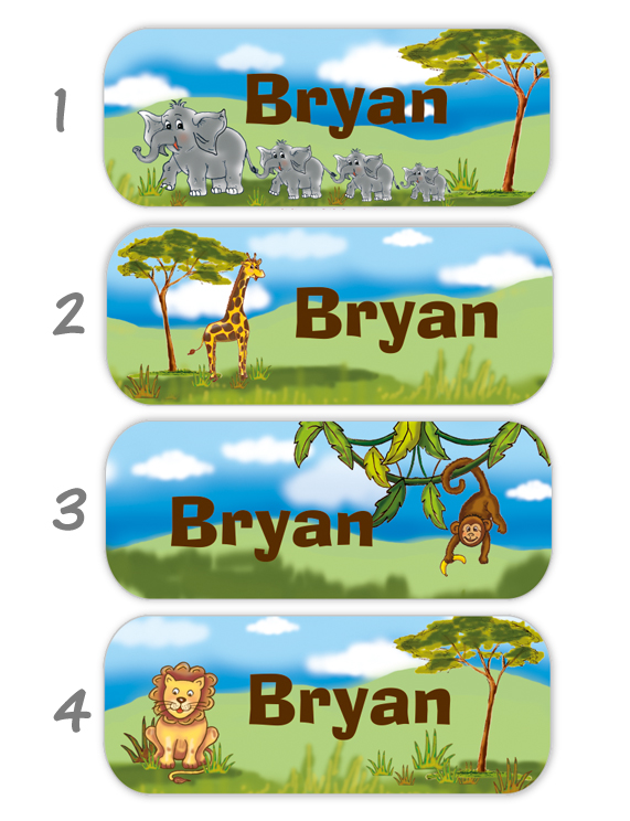 eckige Namensaufkleber, Motiv: Savanne - Tiere Afrikas, Elefanten, Giraffe, Affe, Löwe,  hochwertige, umweltfreundliche PVC-freie Folie