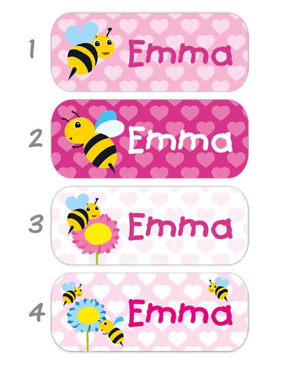 eckige Namensaufkleber, Motiv: Bienen,  hochwertige, umweltfreundliche PVC-freie Folie