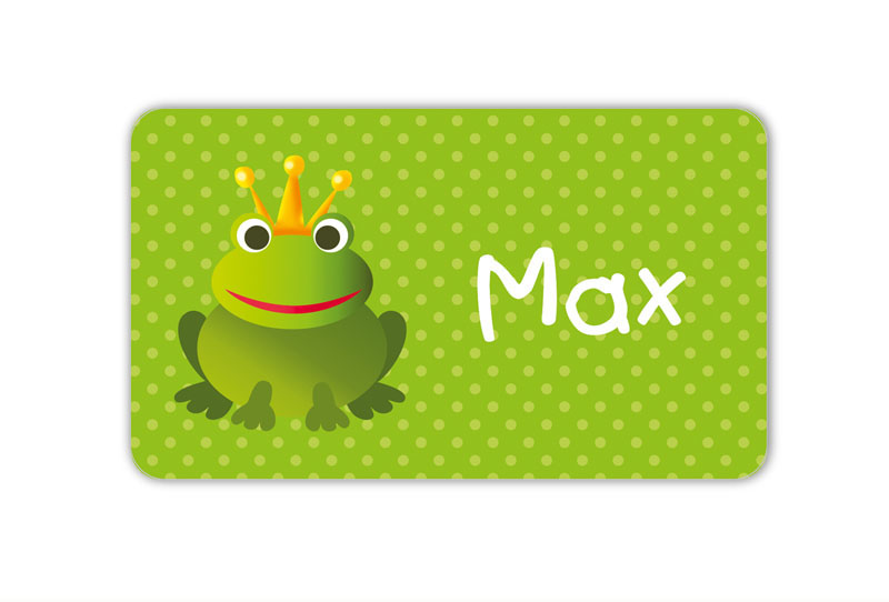 Brotdosenaufkleber 12 x 7 cm  - Motiv: Froschkönig mit Pünktchen - hochwertige PVC-freie Folie, ungiftige Farben - mit Namen personalisierbar