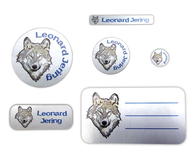 Silbermetallic Schulaufkleber-Set: Wolf, mit verschiedene Namensaufkleber, Stifteaufkleber, Heftaufkleber