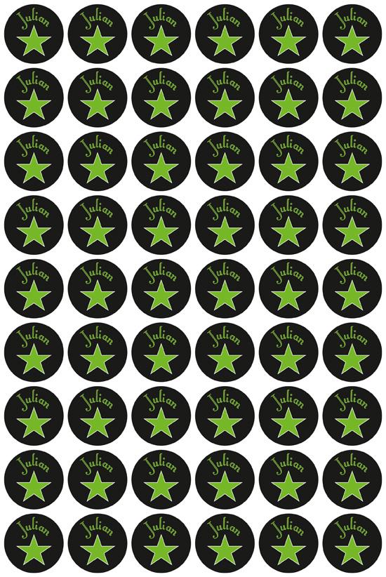 Namensaufkleber: Sterne - grün