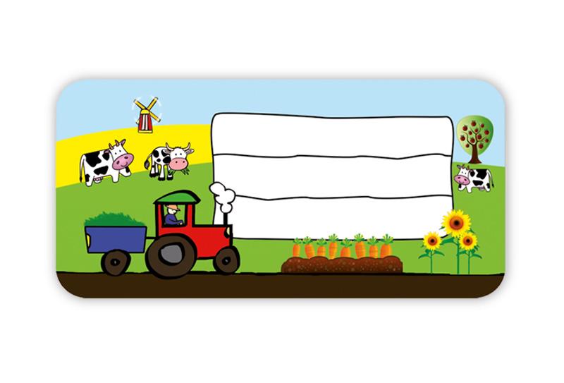 Heftaufkleber zum selber beschriften - Motiv: Traktor - hochwertige, umweltfreundliche PVC-freie Folie