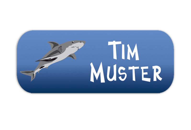 eckige Namensaufkleber, Motiv: Hai,  hochwertige, umweltfreundliche PVC-freie Folie