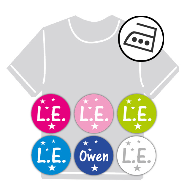 dauerhafte runde Bügeletiketten - auch personalisierbar mit Namen oder Initialen - für Kindergarten u. Schule - PVC frei -  Motiv: Sternchen