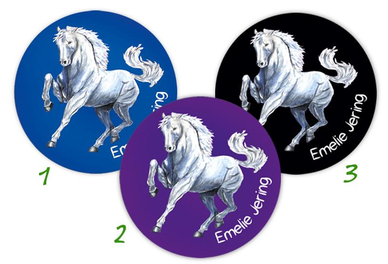 runde Namensaufkleber, Motiv: weißes Pferd,  hochwertige, umweltfreundliche PVC-freie Folie