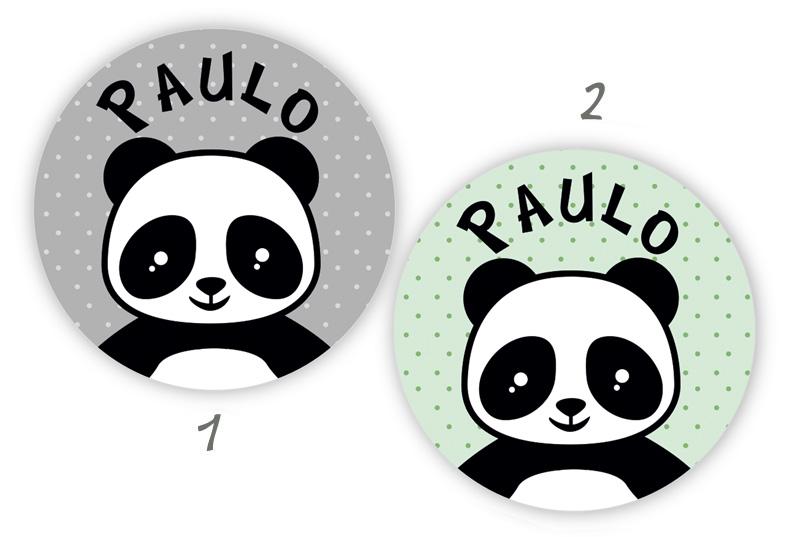 runde Namensaufkleber, Motiv: Pandabär,  hochwertige, umweltfreundliche PVC-freie Folie
