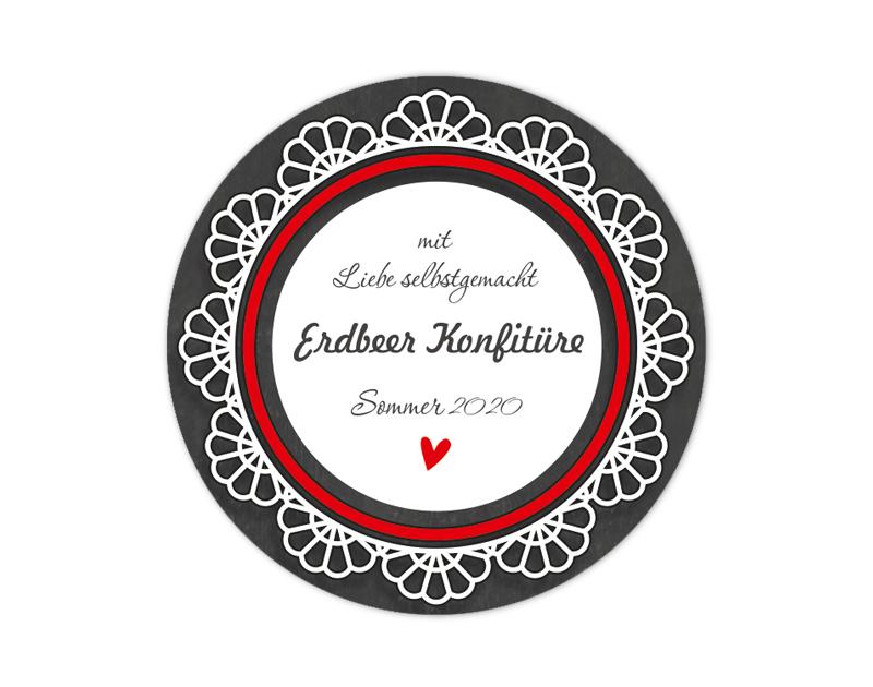 """Marmeladenaufkleber Spitze auf Chalkboard / Tafel """"mit Liebe selbstgemacht"""" & rotes Herz - für deine selbstgemachten Konfitüren & Marmeladen - umweltfreundlich - wasserfest"""