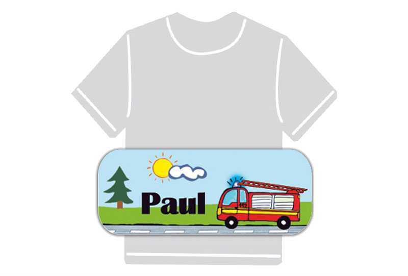 dauerhafte Bügeletiketten mit Namen für Kindergarten u. Schule - PVC frei -  Motiv: Feuerwehr
