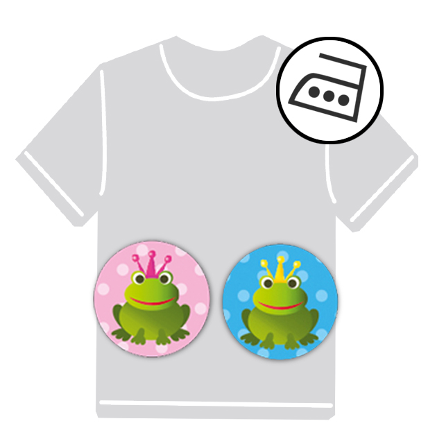 dauerhafte runde Bügeletiketten - auch personalisierbar mit Namen oder Initialen - für Kindergarten u. Schule - PVC frei -  Motiv: Frosch