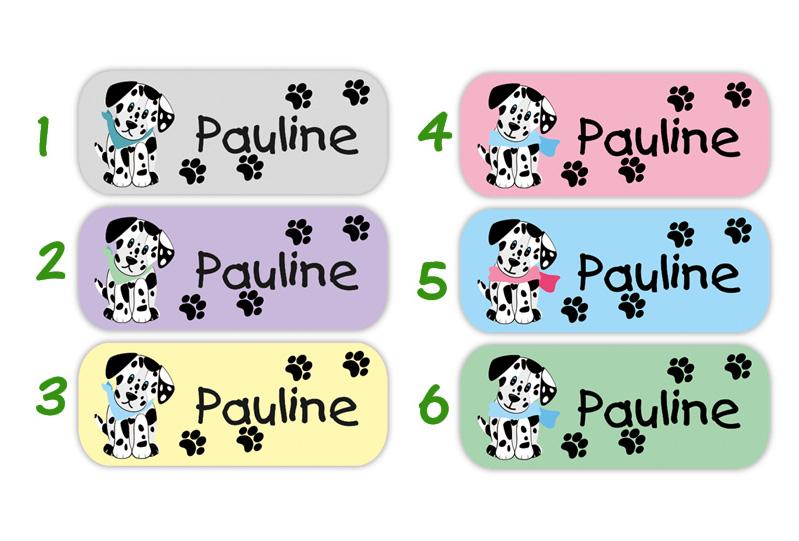 eckige Namensaufkleber, Motiv: Dalmatiner, Hund, hochwertige, umweltfreundliche PVC-freie Folie