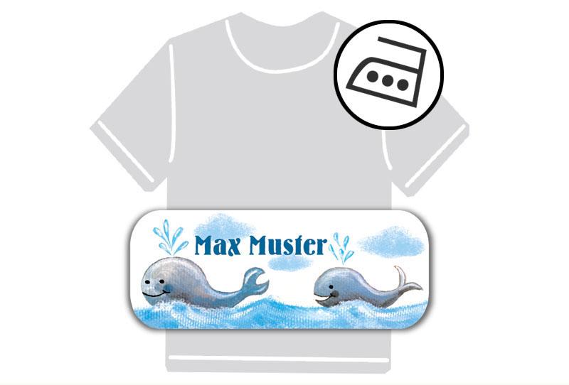 dauerhafte Bügeletiketten mit Namen für Kindergarten u. Schule - PVC frei -  Motiv: Wale